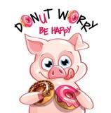 动画片猪的传染媒介例证与油炸圈饼的 免版税库存照片