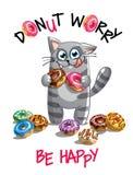 动画片猫的传染媒介例证与油炸圈饼的 库存图片