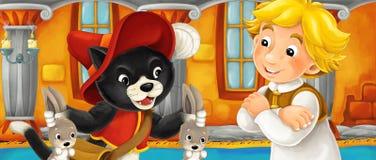 动画片猫谈话与城堡的某些农夫男孩