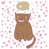 动画片猫逗人喜爱的认为的向量 免版税库存图片