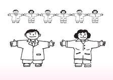 动画片男孩和女孩 免版税库存照片