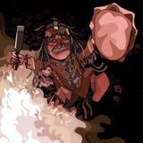 动画片男性僧人跳舞在火的晚上 库存照片