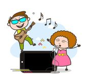 动画片男性和女歌手有智能手机传染媒介的 库存例证