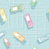 动画片移动电话无缝的样式纹理 库存照片