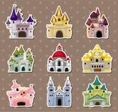 动画片童话城堡贴纸 免版税库存图片