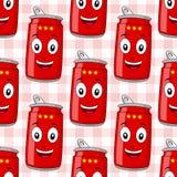 动画片红色汽水罐无缝的样式 免版税库存图片
