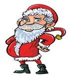 动画片红色的微笑的愉快的圣诞老人 免版税图库摄影