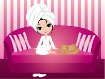 动画片绯红色沙发妇女 库存照片