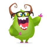 动画片绿色妖怪书呆子佩带的玻璃 激动的妖怪字符的传染媒介例证 向量例证