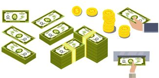 动画片美元的图象,堆美元,美元从ATM出来,手拿着美元 在硬币的美元 库存例证