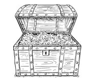 动画片老开放海盗宝物箱传染媒介图画与里面金币的 免版税库存图片