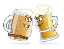 动画片英雄啤酒大啤酒杯 库存图片