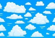 动画片蓝色多云天空 与白色蓬松云彩的水平的无缝的样式 第2场比赛阴暗天空传染媒介纹理 库存例证