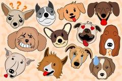 动画片表现出滑稽的狗的传染媒介例证情感 显示各种各样的情感的小狗emoji 皇族释放例证