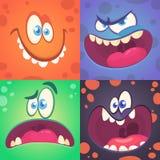 动画片被设置的妖怪面孔 传染媒介套用不同的表示的四张万圣夜妖怪面孔 儿童图书例证或p 图库摄影