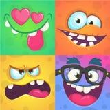 动画片被设置的妖怪面孔 传染媒介套用不同的表示的四张万圣夜妖怪面孔 儿童图书例证 免版税库存图片