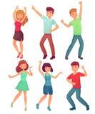 动画片跳舞人 激动的少年,少妇在党的人字符愉快的舞蹈  庆祝舞蹈传染媒介 向量例证