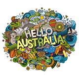 动画片逗人喜爱的乱画手拉的你好澳大利亚题字 图库摄影