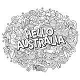 动画片逗人喜爱的乱画手拉的你好澳大利亚题字 免版税库存图片