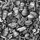 动画片逗人喜爱的乱画手拉的咖啡店无缝的样式 免版税图库摄影