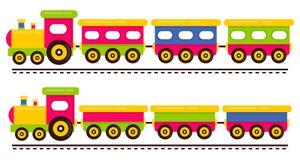 动画片逗人喜爱的在路轨设置的火车和铁货车 皇族释放例证