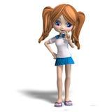 动画片逗人喜爱的女孩学校 免版税库存照片