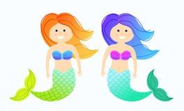 动画片逗人喜爱的小的美人鱼 向量例证