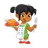 动画片逗人喜爱的矮小的阿拉伯人或美国黑人女孩围裙服务的烤了感恩拿着盘子和叉子的火鸡盘 库存照片