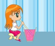 动画片逗人喜爱的饮用的女孩 库存照片