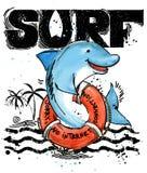 动画片逗人喜爱的鱼 海浪葡萄酒手拉的文本 海洋动物水彩例证 儿童` s暑假背景 库存例证