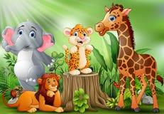 动画片野生动物在美丽的庭院里 皇族释放例证