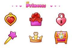 动画片集合公主Icons,少女比赛财产 皇族释放例证