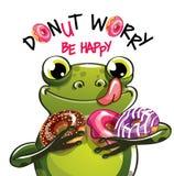 动画片青蛙的传染媒介例证与油炸圈饼的 免版税库存图片