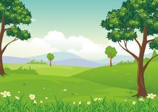 动画片风景,与可爱和逗人喜爱的风景设计 向量例证