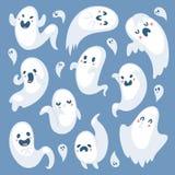动画片鬼的鬼魂万圣夜天庆祝字符可怕妖怪服装邪恶的剪影蠕动的传染媒介例证 向量例证