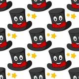 动画片魔术师帽子无缝的样式 免版税库存图片