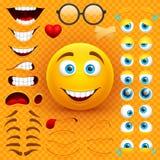 动画片黄色3d兴高采烈的面孔传染媒介字符创作建设者 与被设置的情感、眼睛和mouthes的Emoji 皇族释放例证