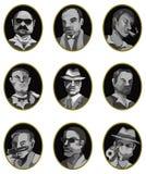 动画片黑手党图标集,标签按钮 免版税库存图片