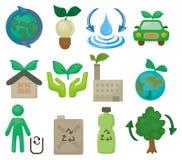 动画片eco图标集 免版税库存图片