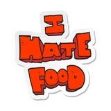 动画片i怨恨食物标志的贴纸 库存例证