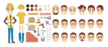动画的男性建造者字符集 库存例证