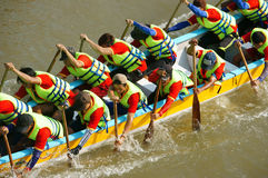活动的人们,荡桨在赛跑的龙小船 免版税库存图片