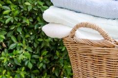 滚动的毛巾选择聚焦在家 库存图片