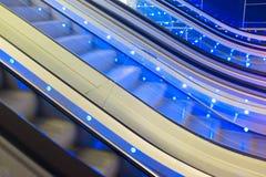 移动的自动扶梯,抽象细节 免版税库存图片