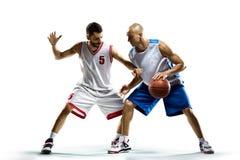 活动的蓝球运动员 免版税图库摄影