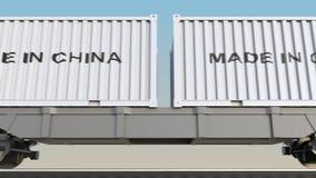 移动的货物火车和容器有中国制造说明的 铁路运输 无缝的圈4K夹子 向量例证
