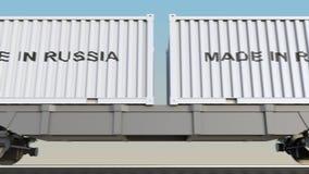 移动的货物火车和容器有俄国制造说明的 铁路运输 无缝的圈4K夹子 库存例证