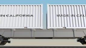 移动的货物火车和容器有做的在加利福尼亚说明 铁路运输 无缝的圈4K夹子 库存例证