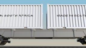 移动的货物火车和容器有做的在南非说明 铁路运输 无缝的圈4K夹子 皇族释放例证