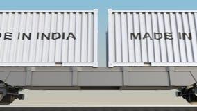 移动的货物火车和容器有做的在印度说明 铁路运输 无缝的圈4K夹子 库存例证